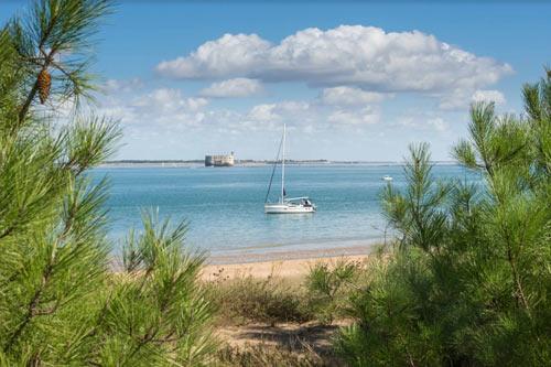 Uitzicht vanaf het strand op de zee in Charante-Maritime.