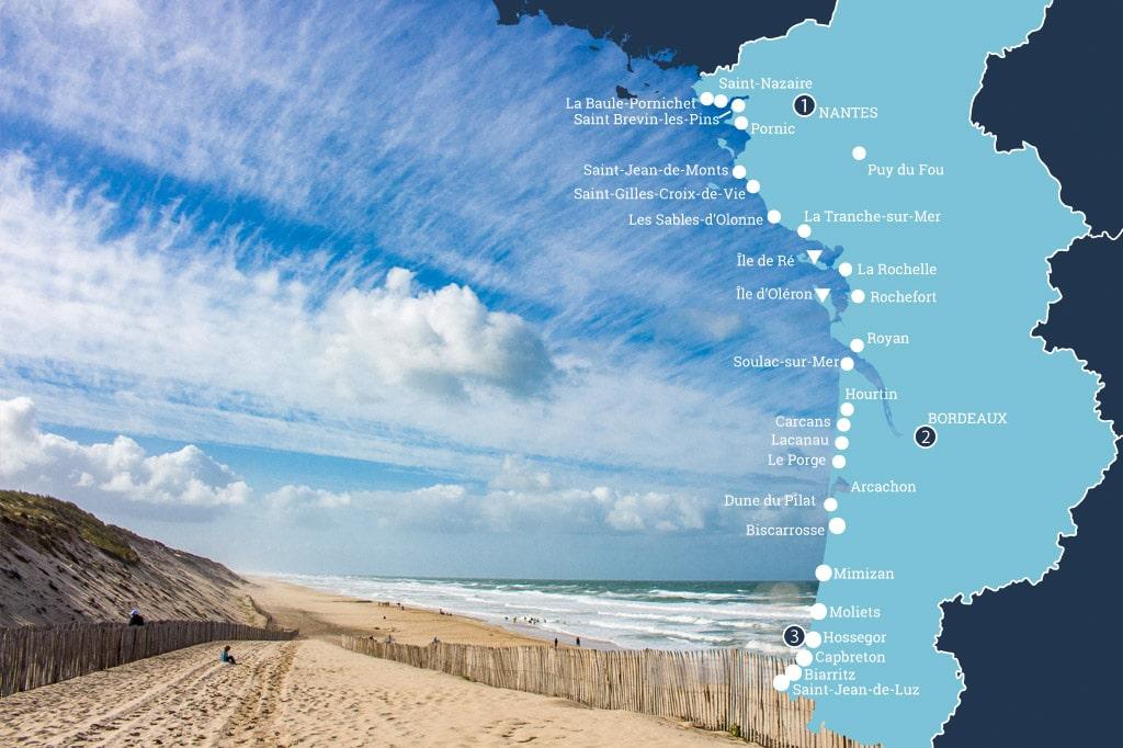 Strand aan de Atlantische Kust in Frankrijk
