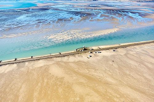 Luchtfoto van het strand van de Gois aan de Atlantische kust van Frankrijk.