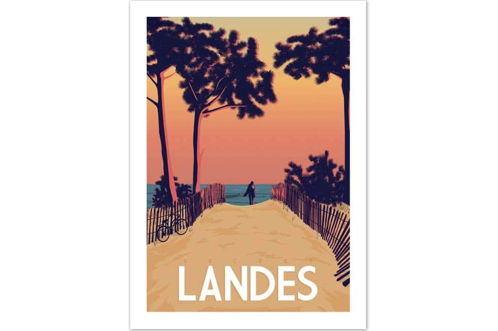 Vintage poster van het strand in Landes, Frankrijk.