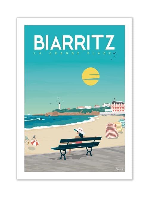 Vitage poster van het strand in Frankrijk.