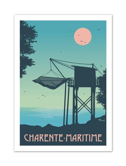 Vintage poster van Charante-Maritime in Frankrijk.