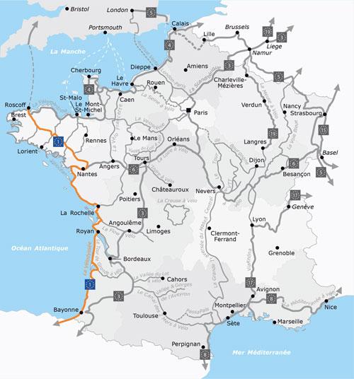 La Vélodyssée: overzicht van de fietsroute langs de Atlantische kust in Frankrijk