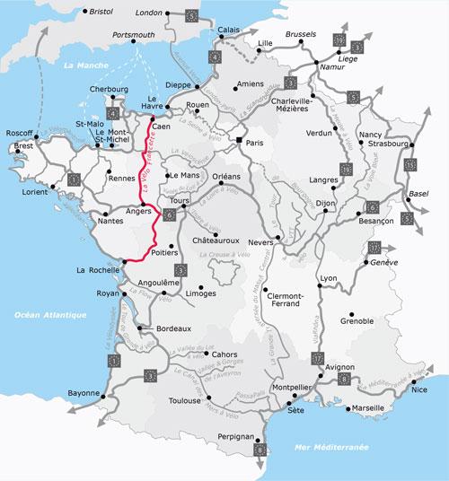 Het traject van de fietsroute La Vélo Francette
