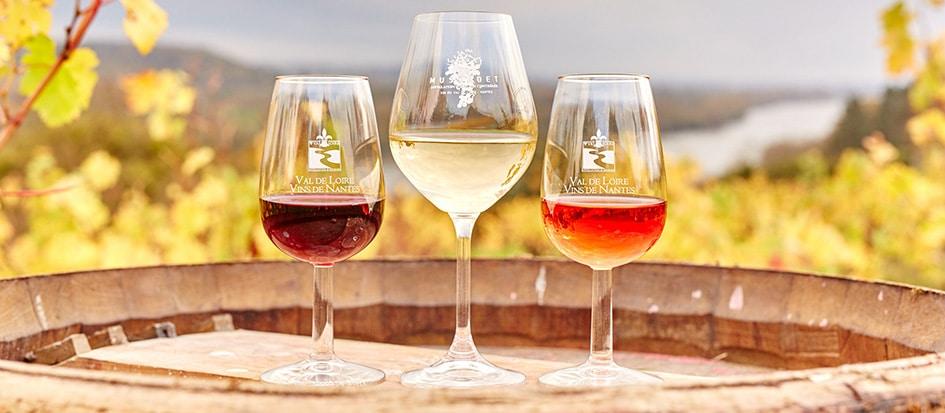Drie verschillende glazen wijn op een ton in Frankrijk.